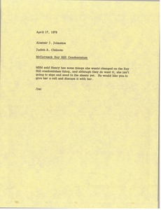 Thumbnail of Memorandum from Judy Chilcote to Alastair J. Johnston