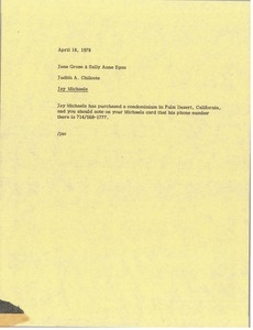 Thumbnail of Memorandum from Judy A. Chilcote to Jane Grose