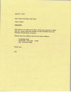 Thumbnail of Memorandum from Chris Hatala to Jane Grose