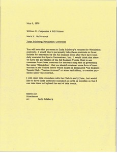 Thumbnail of Memorandum from Mark H. McCormack to William H. Carpenter and Bill Bittner