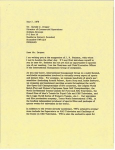Thumbnail of Letter from Mark H. McCormack to Gerald C. Draper