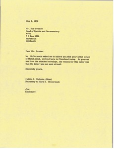 Thumbnail of Letter from Judy A. Chilcote to Bob Bremer