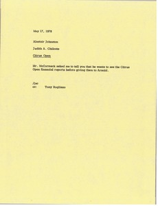 Thumbnail of Memorandum from Judy A. Chilcote to Alastair Johnston