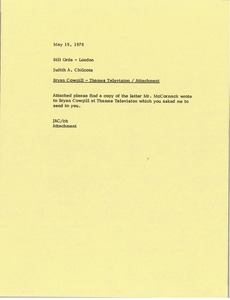 Thumbnail of Memorandum from Judy A. Chilcote to Bill Orde