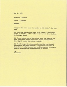 Thumbnail of Memorandum from Judy A. Chilcote to Michael Halstead