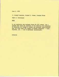Thumbnail of Letter from Mark H. McCormack to H. Richard Isaacson, Richard E. Moore, and Doug Pirnie