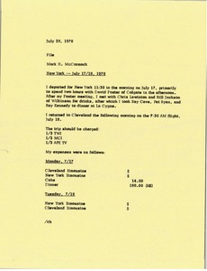 Thumbnail of Memorandum from Mark H. McCormack concerning his trip to New York from July 17th to 18th, 1978.