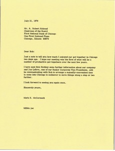 Thumbnail of Letter from Mark H. McCormack to A. Robert Abboud