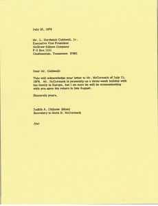 Thumbnail of Letter from Judith A. Chilcote to L. Hardwick Caldwell, Jr.
