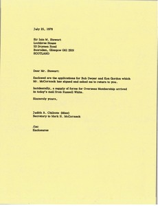 Thumbnail of Letter from Judith A. Chilcote to Sir Iain M. Stewart