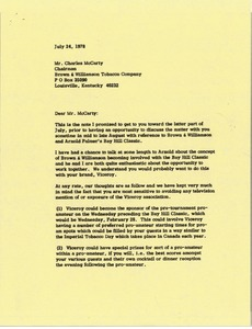 Thumbnail of Letter from Mark H. McCormack to Charles McCarty