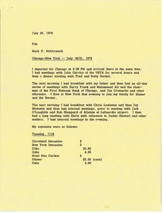 Thumbnail of Memorandum from Mark H. McCormack concerning his recent trips to Chicago and New York from July 18 to 21, 1978