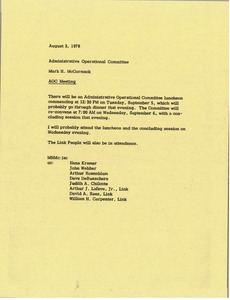 Thumbnail of Memorandum from Mark H. McCormack to administrative operational committee