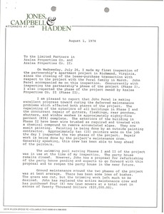 Thumbnail of Letter from James P. Jones to limited partners in Azalea Properties             Company