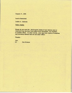 Thumbnail of Memorandum from Judy A. Chilcote to Laurie Hentschel