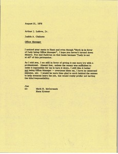 Thumbnail of Memorandum from Judy A. Chilcote to Arthur J. Lafave