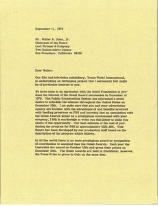 Thumbnail of Letter from Mark H. McCormack to Walter A. Haas Jr.