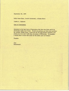 Thumbnail of Memorandum from Judy A. Chilcote to Sally Anne Egan