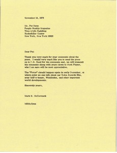 Thumbnail of Letter from Mark H. McCormack to Pat Ryan
