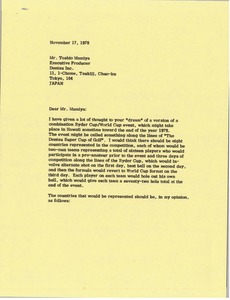 Thumbnail of Letter from Mark H. McCormack to Toshio Mamiya