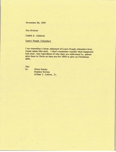 Thumbnail of Memorandum from Judy A. Chilcote to Don Briscar