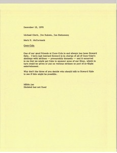 Thumbnail of Memorandum from Mark H. McCormack to Michael Clark, Jim Bukata and Jan Steinmann