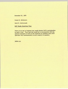 Thumbnail of Memorandum from Mark H. McCormack to James M. McNamara