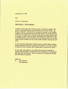 Thumbnail of Letter from Mark H. McCormack to file