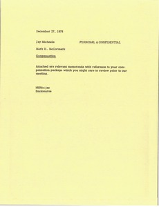 Thumbnail of Memorandum from Mark H. McCormack to Jay Michaels
