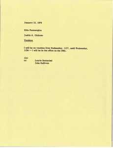 Thumbnail of Memorandum from Judy A. Chilcote to Ellie Pantazoglou