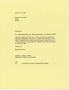 Thumbnail of Letter from Judy A. Chilcote to Kapalua Bay Hotel