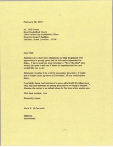 Thumbnail of Letter Mark H. McCormack to Bill Foster