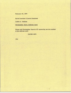 Thumbnail of Memorandum from Judith A. Chilcote to Sarah Lourenco and Laurie Hentschel