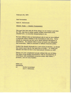 Memorandum from Mark H. McCormack to Geof Ravenstine