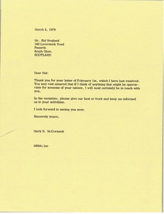 Thumbnail of Letter from Mark H. McCormack to Sid Mouland