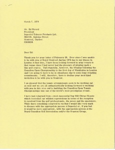 Thumbnail of Letter from Mark H. McCormack to Ed Ricard