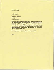 Thumbnail of Memorandum from Judy A. Chilcote to Ernie Green