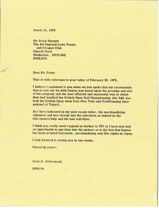 Thumbnail of Letter from Mark H. McCormack to Sir Brian Burnett