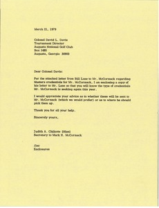 Thumbnail of Letter from Judy A. Chilcote to David L. Davis