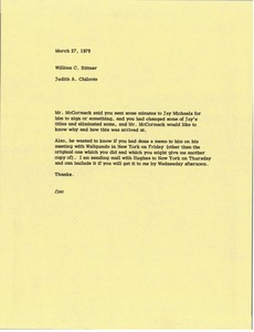 Thumbnail of Memorandum from Judy A. Chilcote to Bill Bittner