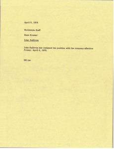 Thumbnail of Memorandum from Hans Kramer to worldwide staff