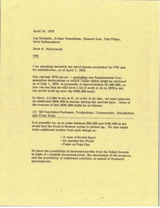 Thumbnail of Memorandum from Mark H. McCormack to Jay Michaels, Arthur Rosenblum, Howard             Katz, Phil Pilley, Dave DeBusschere