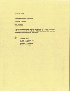 Thumbnail of Memorandum from Judith A. Chilcote to corporate finance committee