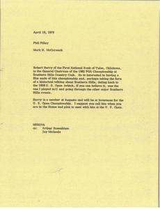 Memorandum from Mark H. McCormack to Phil Pilley