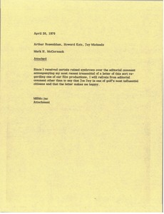 Thumbnail of Memorandum from Mark H. McCormack to Arthur Rosenblum, Howard Katz, and Jay             Michaels