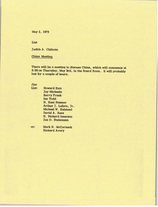 Thumbnail of Memorandum from Judy A. Chilcote to list