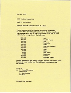 Thumbnail of Memorandum from Mark H. McCormack to United States Tennis Association working papers file