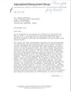 Thumbnail of Letter from Mark H. McCormack to Donald S. Johnston