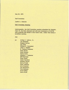 Thumbnail of Memorandum from Judy A. Chilcote to golf committee