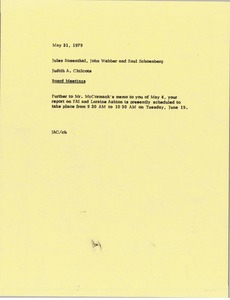 Thumbnail of Memorandum from Judy A. Chilcote to Jules Rosenthal, John Webber and Saul Schoenberg